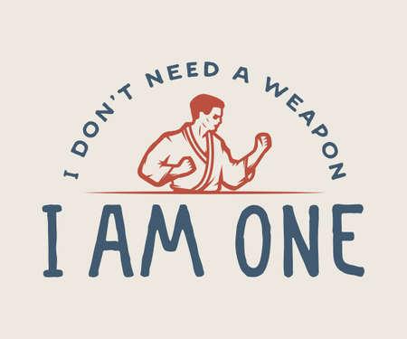 domination: Vintage motivation emblem, label, poster or design print. Inspirational quote with karate fighter. Graphic vector illustration. Illustration