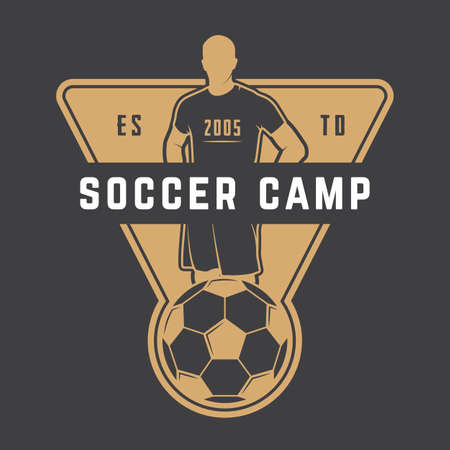 Vintage soccer or football logo, emblem, badge. Vector illustration Logo