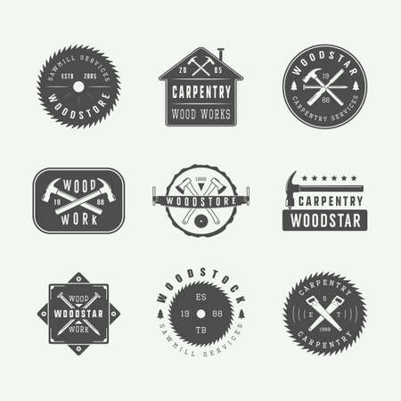 hand silhouette: Set of vintage carpentry and mechanic labels, emblems. Graphic Art. Vector Illustration. Illustration