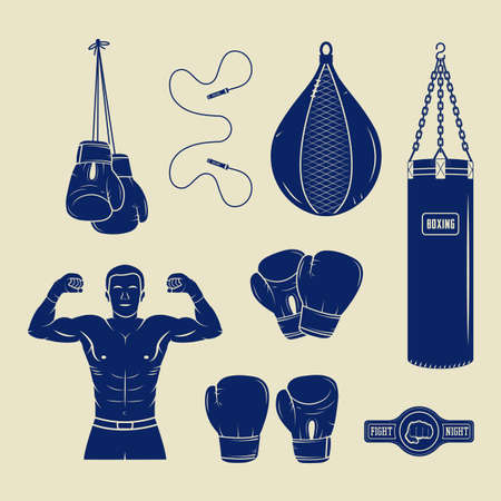 graphic arts: Boxing and martial arts logo badges, labels and design elements in vintage style. Vector illustration. Graphic Art.