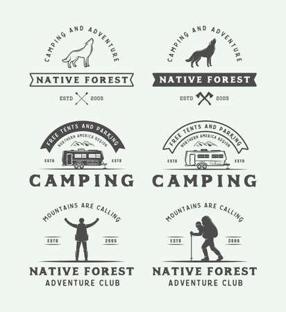 ビンテージ キャンプの屋外セットと冒険ロゴ、バッジ、ラベル、エンブレム、マーク、デザイン要素。グラフィック アート。ベクトルの図。