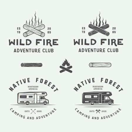 Set of vintage camping outdoor and adventure logos, badges, labels, emblems, marks and design elements. Graphic Art. Vector Illustration. Logó