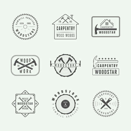 hand silhouette: Set of vintage carpentry and mechanic labels, emblems and logo. Graphic Art. Vector Illustration.