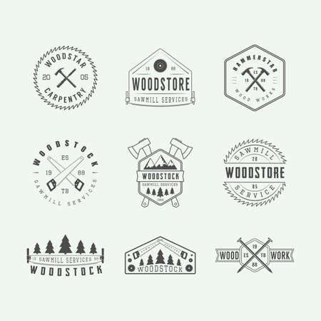 Conjunto de carpintería de la vendimia y las etiquetas mecánico, emblemas y logotipo. Arte Grafico. Ilustración del vector. Logos