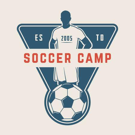 Vintage voetbal of voetbal logo, embleem, badge. Vector illustratie. Grafische kunst