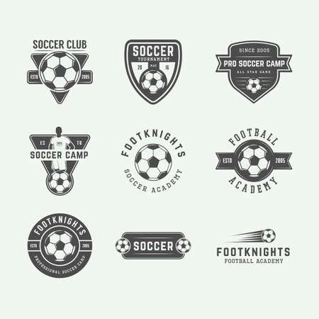 soccer team: Set of vintage soccer or football logo, emblem, badge. Vector illustration. Graphic Art