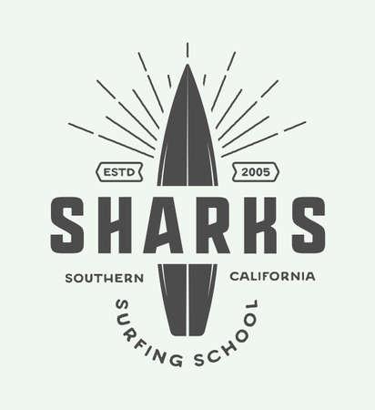 school of fish: Vintage surfing logo, emblem, badge, label, mark. International surfing day card. Graphic art. Vector Illustration. Graphic Art.