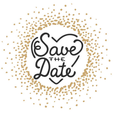 written: Save the Date invite greeting card vector template with modern calligraphy and golden splash on white background. Handwritten lettering. Hand drawn typography design elements. Illustration