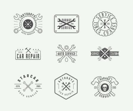 Ensemble de cru mécanicien étiquette, emblème, badge et logo. Vector illustration. Art graphique