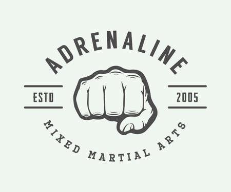 artes marciales mixtas: logotipo de artes marciales mixtas de época, insignia o emblema. ilustración vectorial