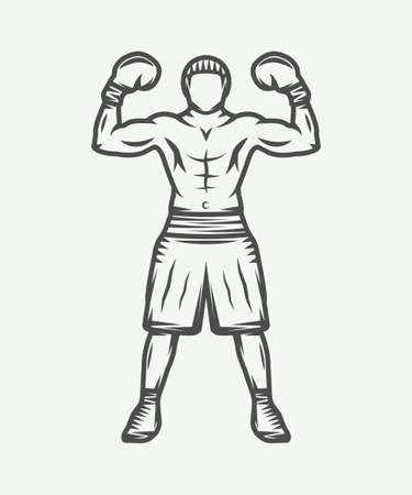 kickboxing: Vintage retro boxer. Can be used for logo, badge, emblem, mark, label. Graphic Art. Vector Illustration. Illustration
