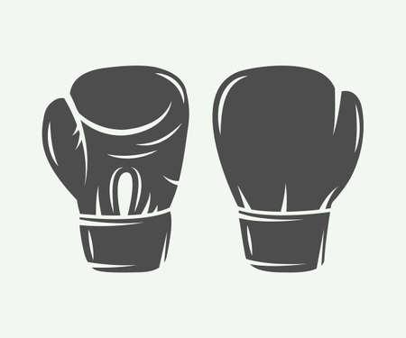 glove: Boxing gloves in vintage style. Vector illustration
