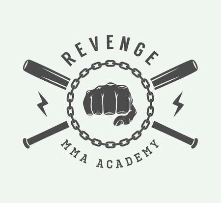 logotipo de artes marciales mixtas de época, insignia o emblema. Ilustración del vector. arte Grafico Vectores