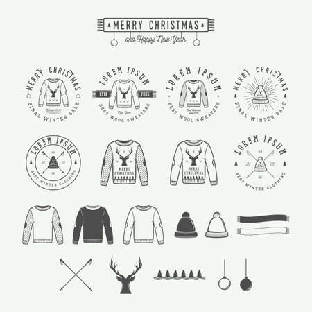 Vintage Merry Christmas or winter sales logo, emblem, badge, label and watermark in retro style with sweaters, hats, scarfs, trees, stars, decor, deers and design elements. Vector illustration