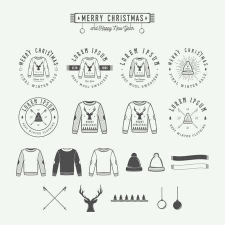 Vintage Vrolijke Kerstmis of winter verkoop embleem, kenteken, etiket en watermerk in retro stijl met truien, mutsen, sjaals, bomen, sterren, decor, herten en design elementen. vector illustratie