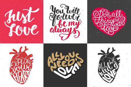 motto: Set of romantic hand drawn unique typography greeting cards, decoration, template, prints, banners and posters. Illustration