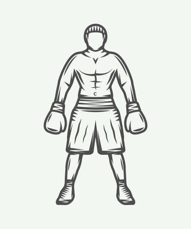 strong men: Vintage retro boxer. Can be used for logo, badge, emblem, mark, label. Graphic Art. Vector Illustration. Illustration
