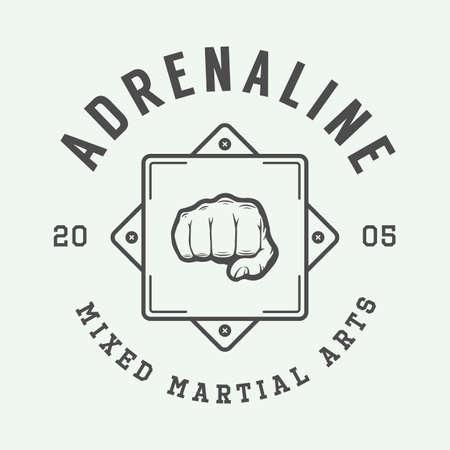 artes marciales mixtas: mixta de artes marciales insignia o emblema de la vendimia ilustración de arte gráfico.