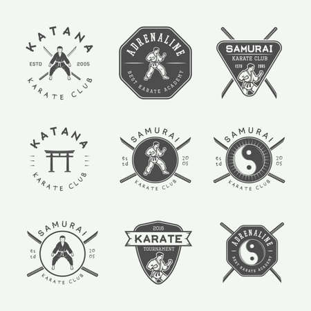 graphic arts: Set of vintage karate or martial arts logo, emblem, badge, label and design elements in retro style. Vector illustration. Monochrome Graphic Art.