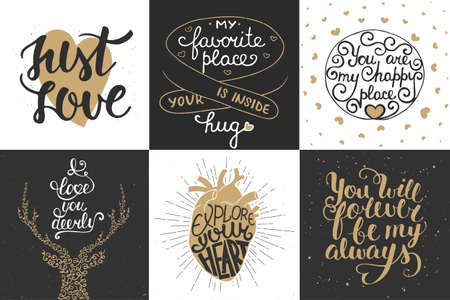 Set of romantic vector hand drawn unique typography greeting cards, decoration, template, prints, banners and posters. Modern ink brush calligraphy. Handwritten vintage lettering. 向量圖像