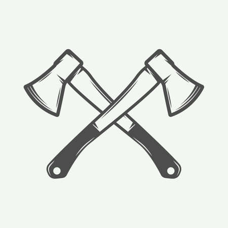 Vintage cross axes in retro style. Can be used for  emblem, badge, label, stamp or mark.  graphic Art. Vector Illustration.