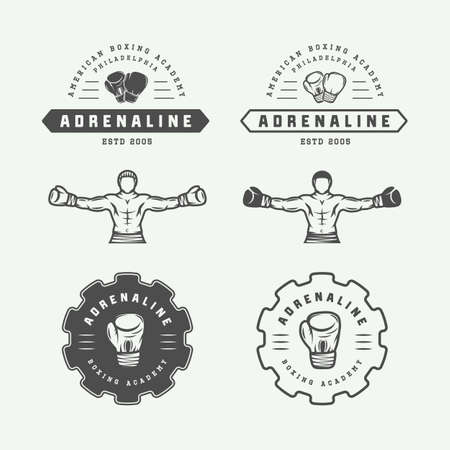 graphic arts: Set of vintage boxing and martial arts  badges and labels in retro style.  graphic Art. Vector Illustration Illustration
