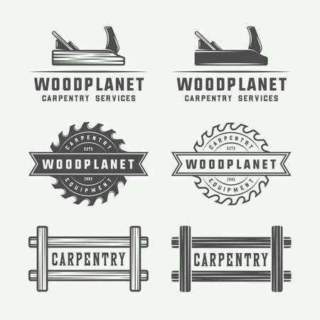 Set of vintage carpentry, woodwork and mechanic labels, badges, emblems and logo. Vector illustration. Monochrome Graphic Art.  イラスト・ベクター素材