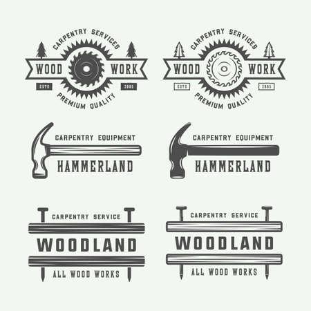 Set of vintage carpentry, woodwork and mechanic labels, badges, emblems and logo. Vector illustration. Monochrome Graphic Art. Ilustrace