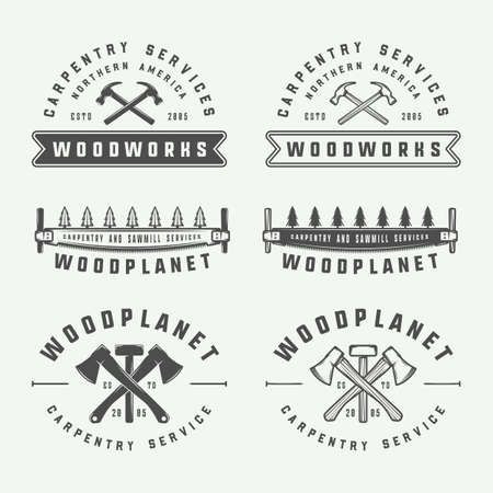 Set of vintage carpentry, woodwork and mechanic labels, badges, emblems and logo. Vector illustration. Monochrome Graphic Art. Ilustracja