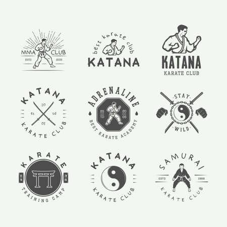 Set of vintage karate or martial arts logo, emblem, badge, label and design elements in retro style. Vector illustration. Monochrome Graphic Art.