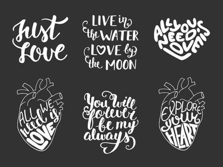 mindful: Set of vector love romantic lettering for greeting cards, decoration, prints and posters. Hand drawn typography design elements. Handwritten lettering. Modern ink brush calligraphy.