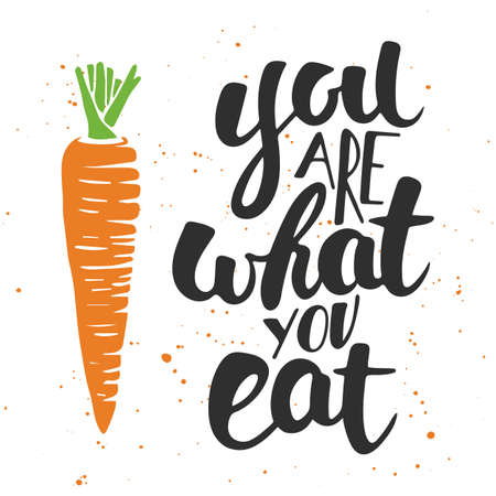 Vector card with hand drawn unique typography design element for greeting cards, decoration, prints and posters. You are what you eat, modern ink brush calligraphy with splash. Handwritten lettering.