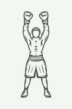 Vintage retro boxer. Can be used for logo, badge, emblem, mark, label. Monochrome graphic Art. Vector Illustration.