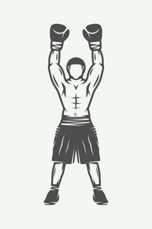 knockdown: Vintage retro boxer. Can be used for logo, badge, emblem, mark, label. Monochrome graphic Art. Vector Illustration.