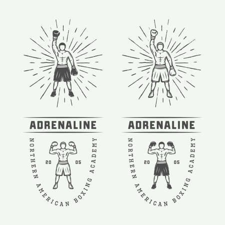 graphic arts: Boxing and martial arts logo badges and labels in vintage style. Monochrome Graphic Art. Vector Illustration. Illustration