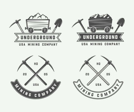 Set of retro mining or construction logo badges and labels in vintage style. Monochrome Graphic Art. Vector Illustration.