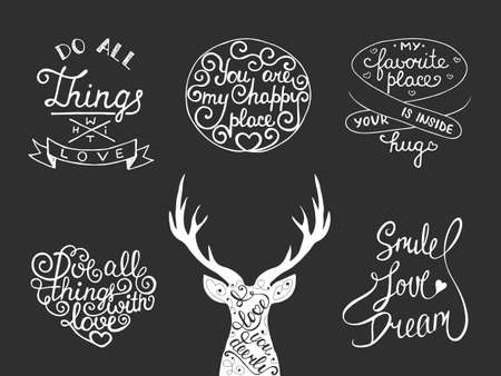 mindful: Set of vector romantic, inspirational and motivational lettering for greeting cards, decoration, prints and posters. Hand drawn typography design elements. Handwritten lettering. Modern calligraphy.