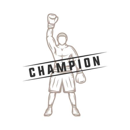 Boxeador retro vintage. Puede ser utilizado para logotipo, insignia, emblema, marca, etiqueta. Arte Grafico. Ilustración. Vectores