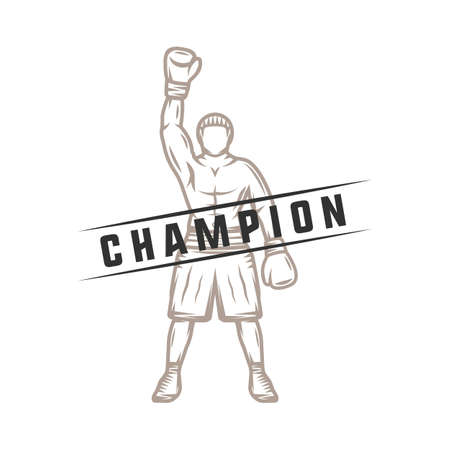 knockdown: Vintage retro boxer. Can be used for logo, badge, emblem, mark, label. Graphic Art. Illustration. Illustration