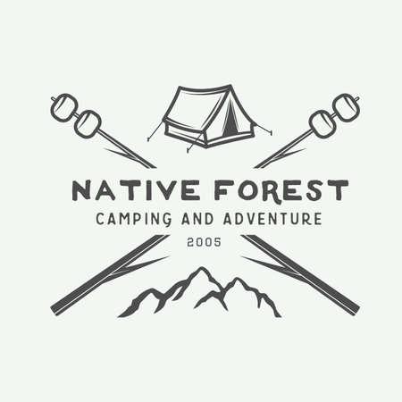 Vintage camping outdoor and adventure logo, badge, label, emblem, mark . Vector illustration. Monochrome Graphic Art. Çizim