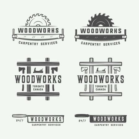 ビンテージの大工、木工品やメカニックのラベル、バッジ、エンブレム、ロゴのセットです。ベクトルの図。モノクロ グラフィック アート。