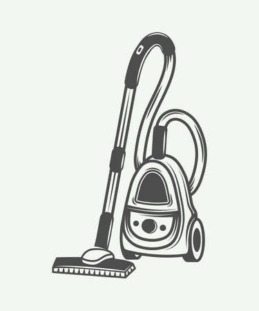 vac: Vintage vacuum cleaner in retro style. Monochrome Graphic Art. Vector Illustration. Illustration