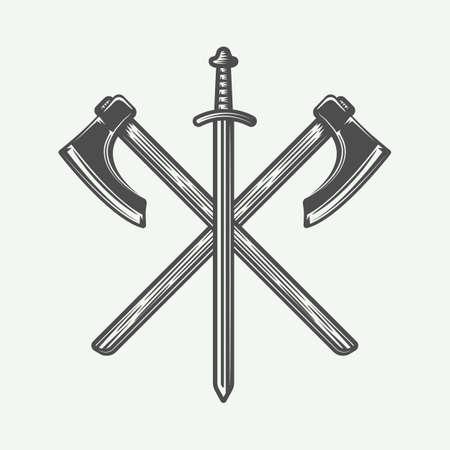 Vintage vikings logo, emblem, badge in retro style. Monochrome Graphic Art. Vector Illustration. Illustration