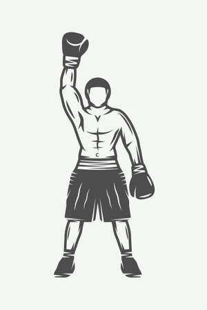 Vintage retro boxer. Can be used for logo, badge, emblem, mark, label. Monochrome graphic Art. Vector Illustration.