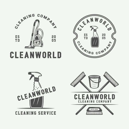 Set of retro cleaning logo badges, emblems and labels in vintage style. Monochrome Graphic Art. Vector Illustration. Banco de Imagens - 83465858