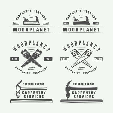 Set of vintage carpentry, woodwork and mechanic labels, badges, emblems and logo. Vector illustration. Monochrome Graphic Art. Reklamní fotografie - 83465862