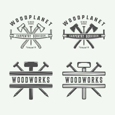 Set of vintage carpentry, woodwork and mechanic labels, badges, emblems and logo. Vector illustration. Monochrome Graphic Art. Ilustração