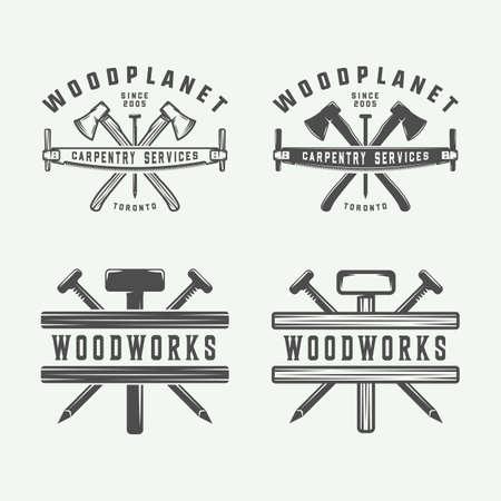 Set of vintage carpentry, woodwork and mechanic labels, badges, emblems and logo. Vector illustration. Monochrome Graphic Art. Stock Illustratie