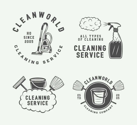 toilet: Set of retro cleaning logo badges, emblems and labels in vintage style. Monochrome Graphic Art. Vector Illustration.