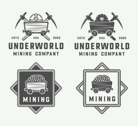 pick light: Set of retro mining or construction logos, badges, emblems and labels in vintage style. Monochrome Graphic Art. Vector Illustration.